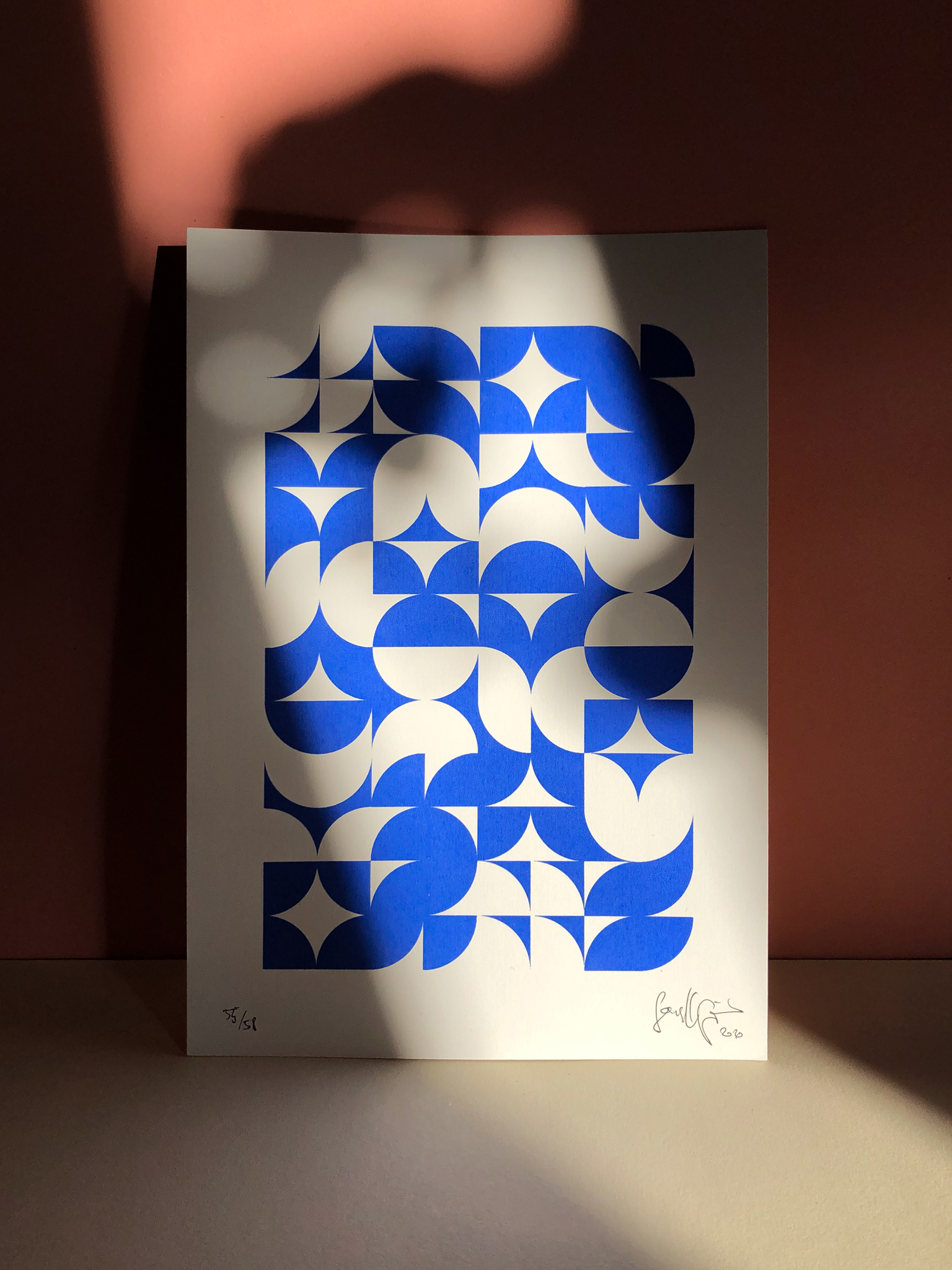 Screenprint on white paper, shown on colorful background, illuminated by the sun.